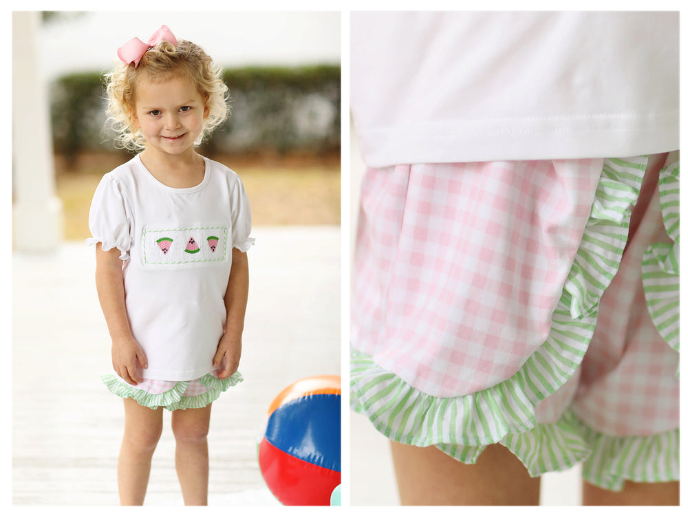 Knit Watermelon Smocked Pink Gingham Swing Short Set