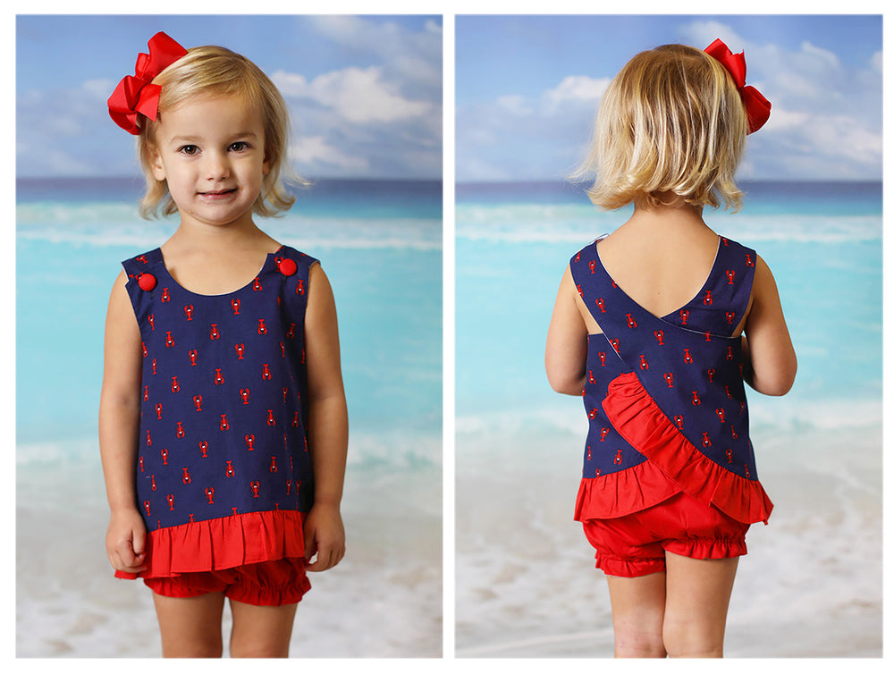 Lobster Print Navy Swing Top Red Bubble Short Set