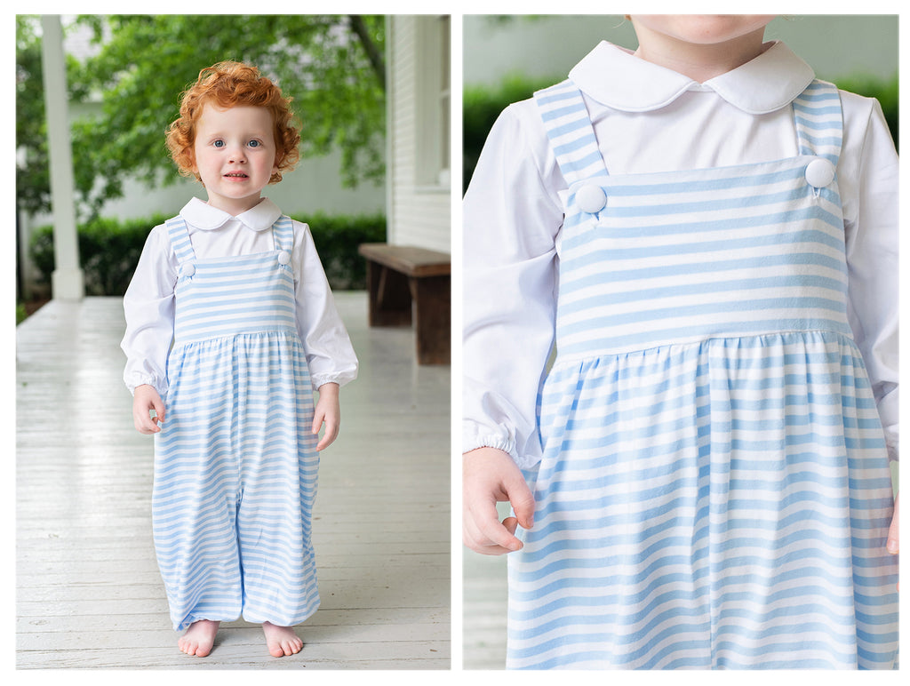 Knit Sailboat Smocked Blue Gingham Bubble