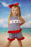 Patriotic Firework Smocked Navy Gingham A-Line Top Ruffle Short Set