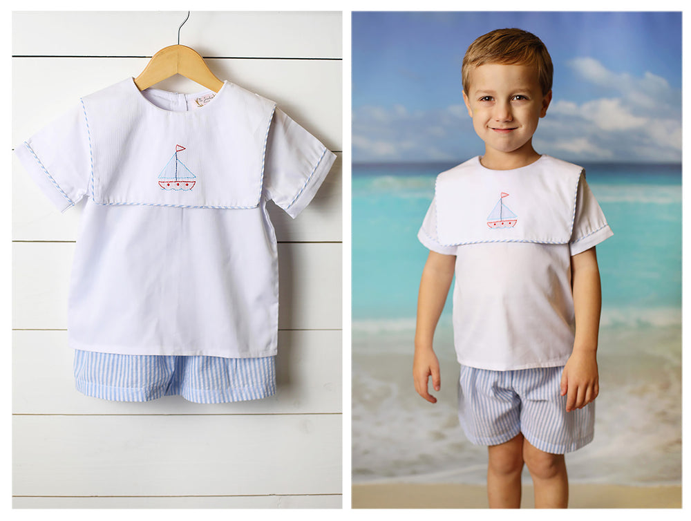Load image into Gallery viewer, Sailboat Shadow Embroidered White Pique Bib Top Blue Seersucker Short Set
