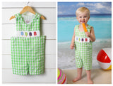 Popsicle Smocked Lime Green Gingham Seersucker Jon Jon