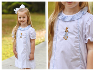 Peter Rabbit Embroidered Blue Gingham Ruffle Collar White Pique A-Line Dress