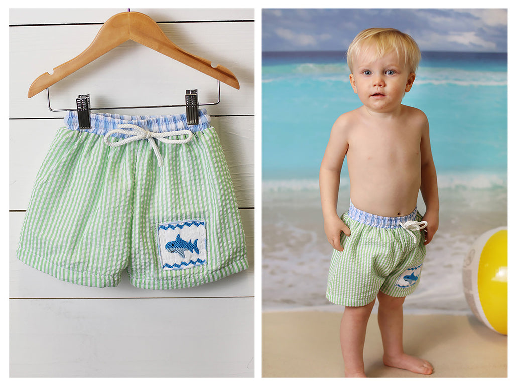 Shark Smocked Lime Green Seersucker Swim Shorts