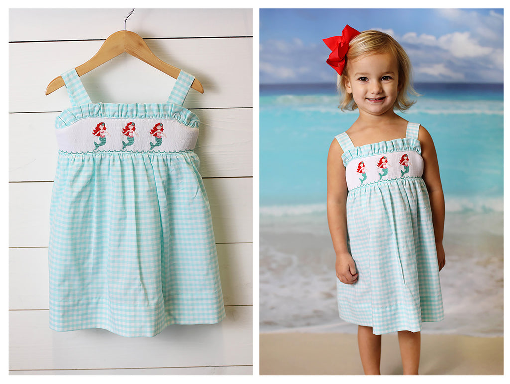 Mermaid Smocked Mint Gingham Dress
