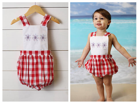 Cotton Smocked White Shirt Blue Plaid Short Set
