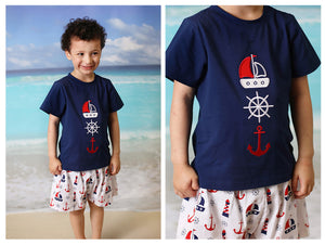 Load image into Gallery viewer, Nautical Applique Navy Shirt Nautical Print Short Set