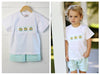 Easter Egg Smocked Mint Gingham Boy Short Set
