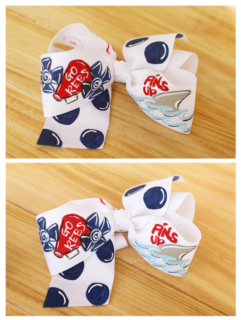 Red & Navy Hand Painted Bow