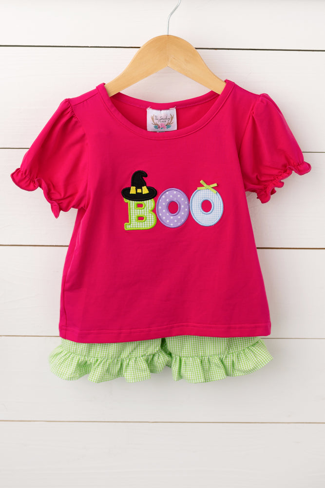BOO Applique Lime Green Gingham Ruffle Short Set