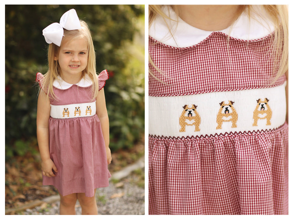 Load image into Gallery viewer, Bulldog Smocked Collared Dress