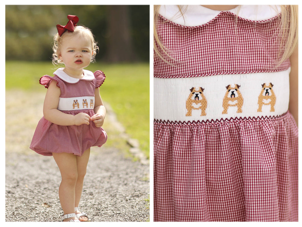 Bulldog Smocked Collared Girl Bubble