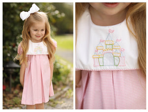 Castle Shadow Embroidery Pink Gingham Dress