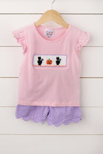 Cat Pumpkin Smocked Pink Shirt Purple Dot Scalloped Short Set