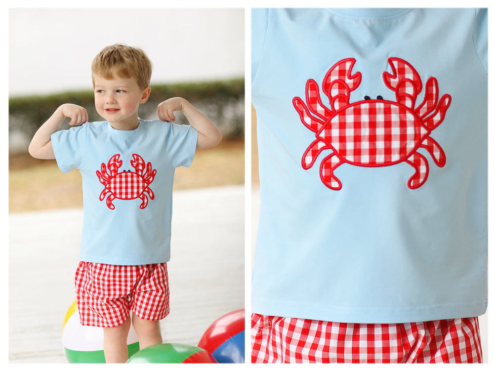 Load image into Gallery viewer, Crab Applique Red Gingham Short Set