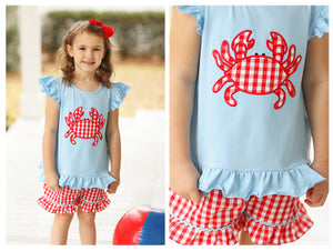 Crab Applique Red Gingham Ruffle Short Set