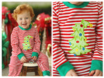 Knit Christmas Tree Applique Red Stripe Romper