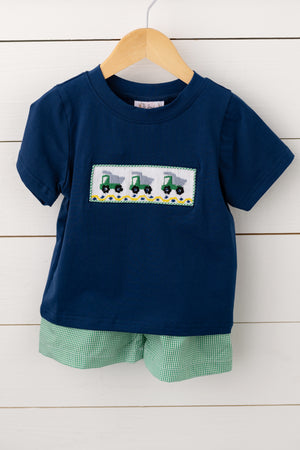 Load image into Gallery viewer, Dump Truck Smocked Green Gingham Short Set