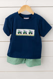 Dump Truck Smocked Green Gingham Short Set
