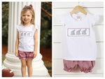 Elephant Smocked Bubble Short Set