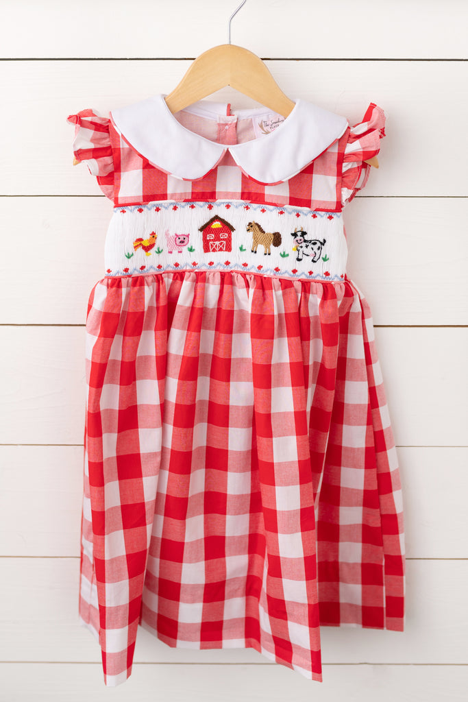 Farm Smocked Red Buffalo Check Collared Dress