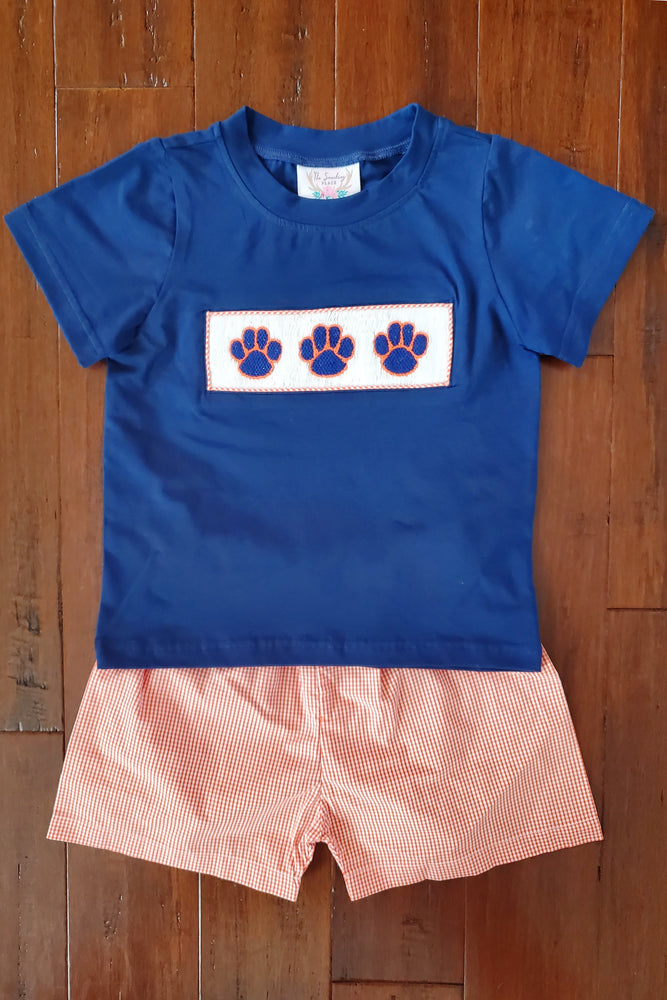 Load image into Gallery viewer, Paw Print Smocked Navy Shirt Orange Gingham Short Set