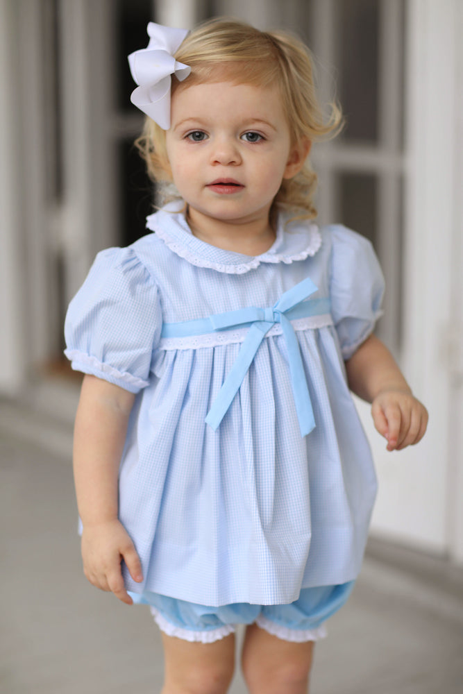 Blue Gingham Eyelet Bloomer Short Set