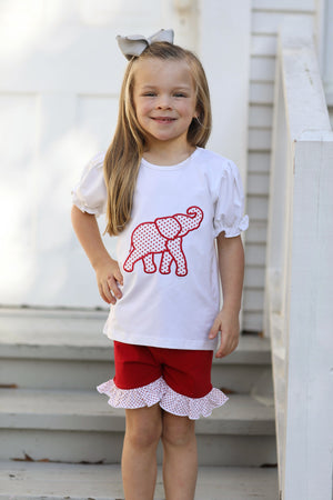 Knit Elephant Applique Shirt Red Ruffle Short Set with Red Bitty Dot Trim