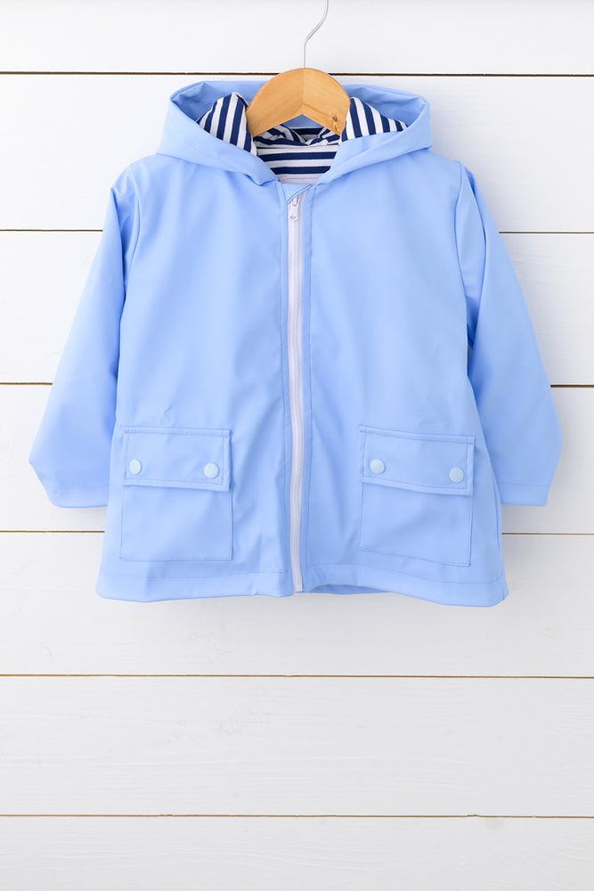 Blue Raincoat with Knit Navy Stripe Lining