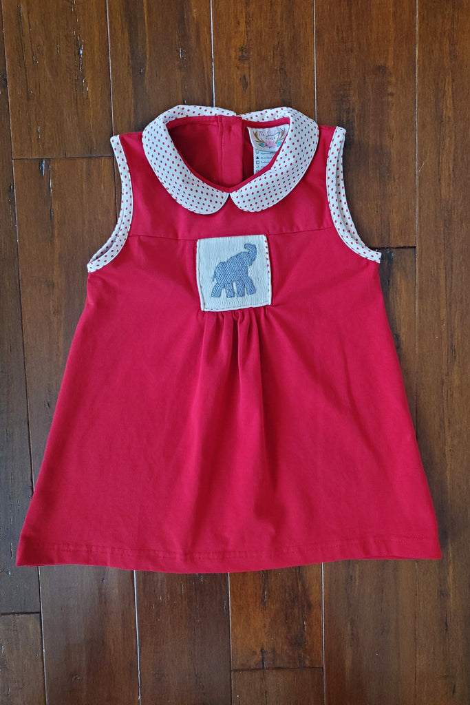 Knit Elephant Smocked Red Bitty Dot Collared Dress