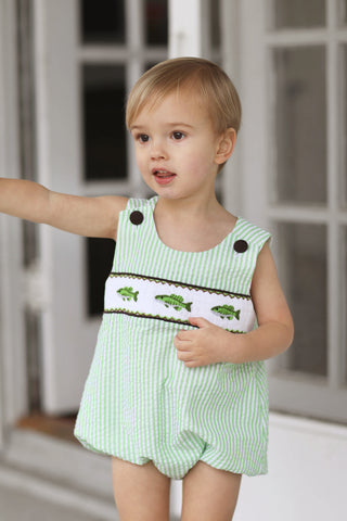 Fishing Buoy Smocked Aqua Shirt Green Gingham Short Set