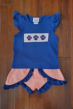 Paw Print Smocked Navy Shirt Orange Gingham Ruffle Swing Short Set