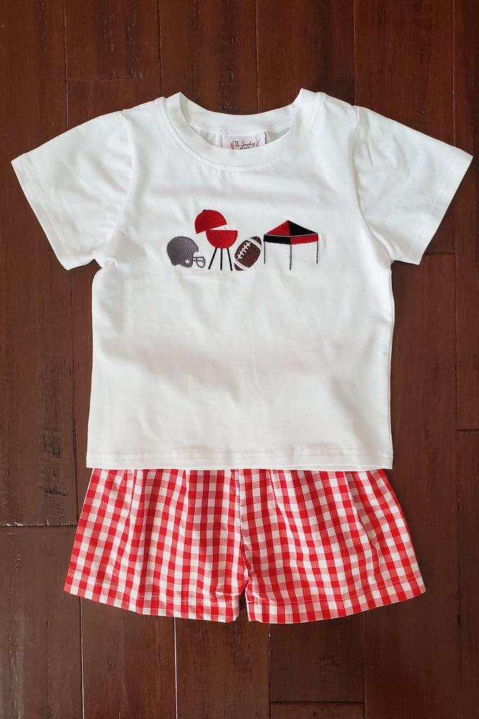 Game Day Embroidered Black & Red Gingham Short Set