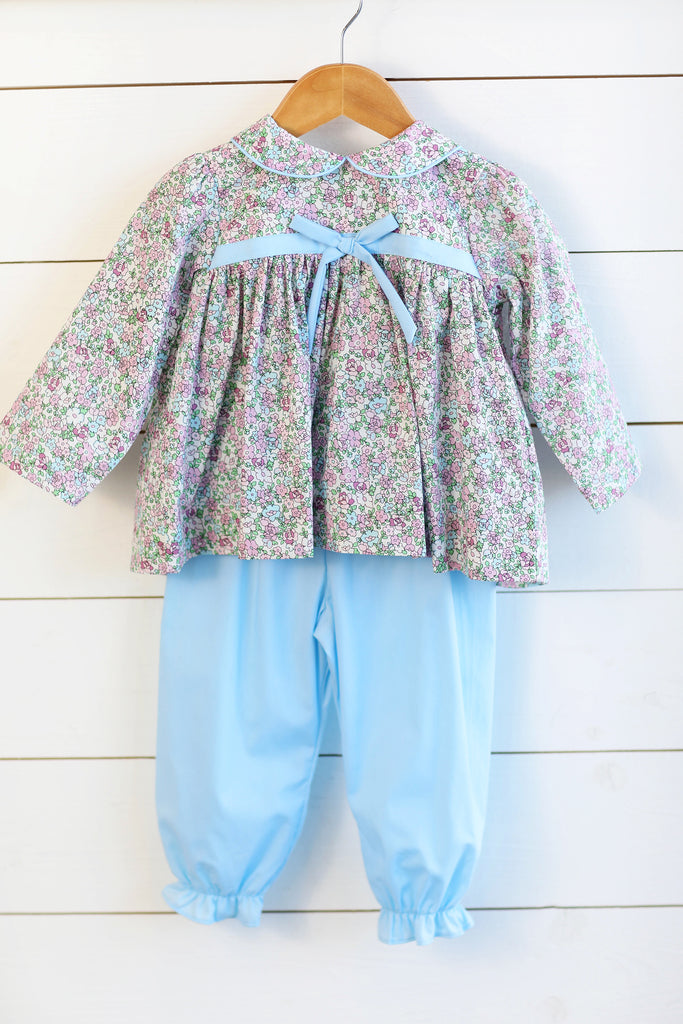 Floral Bow Top with Blue Bubble Pants