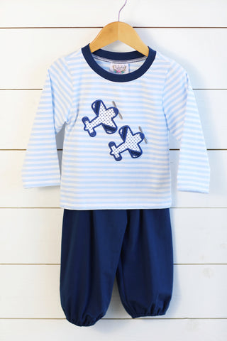 Rocket Heart Applique Navy Shirt Blue Gingham Pant Set