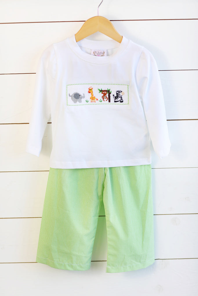 Jungle Friends Smocked White Shirt Lime Green Gingham Pant Set