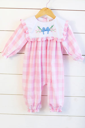 Bow Floral Embroidery Pink Buffalo Check Long Bubble