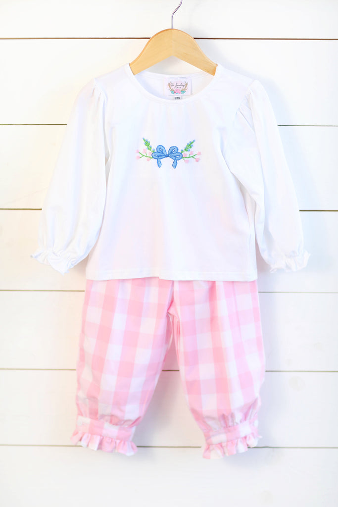 Bow Floral Embroidered White Shirt Pink Buffalo Check Bubble Pant Set