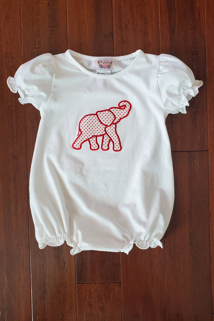 Knit Elephant Applique White Girl Bubble