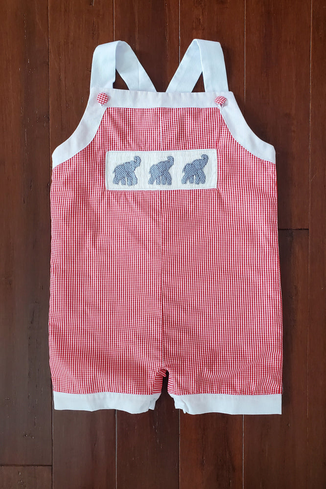 Elephant Smocked Red Gingham Jon Jon with White Trim