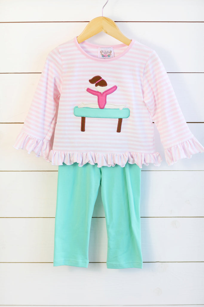 Knit Gymnast Applique Pink Stripe Ruffle Shirt Mint Pant Set