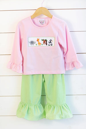Jungle Friends Smocked Light Pink Shirt Lime Green Gingham Ruffle Pant Set
