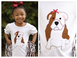 Load image into Gallery viewer, Knit Bulldog Applique Girl Shirt