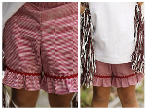 Load image into Gallery viewer, Maroon Gingham Ruffle Shorts