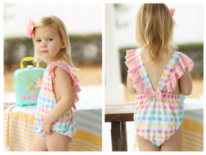 Load image into Gallery viewer, Plaid Ruffle Swimsuit