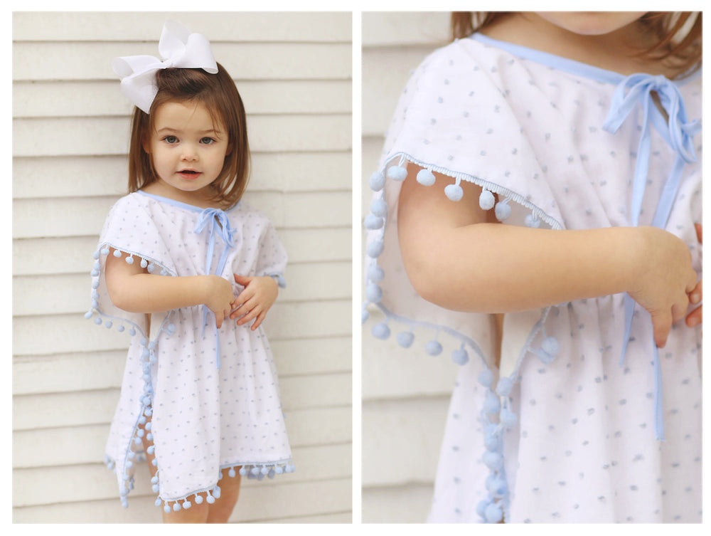 Load image into Gallery viewer, Blue Swiss Dot Pom Pom Coverup