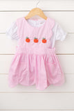 Pumpkin French Knot Embroidered Pink Scallop Dress Set