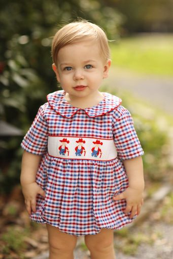 Rebel Smocked Red & Blue Plaid Boy Bubble