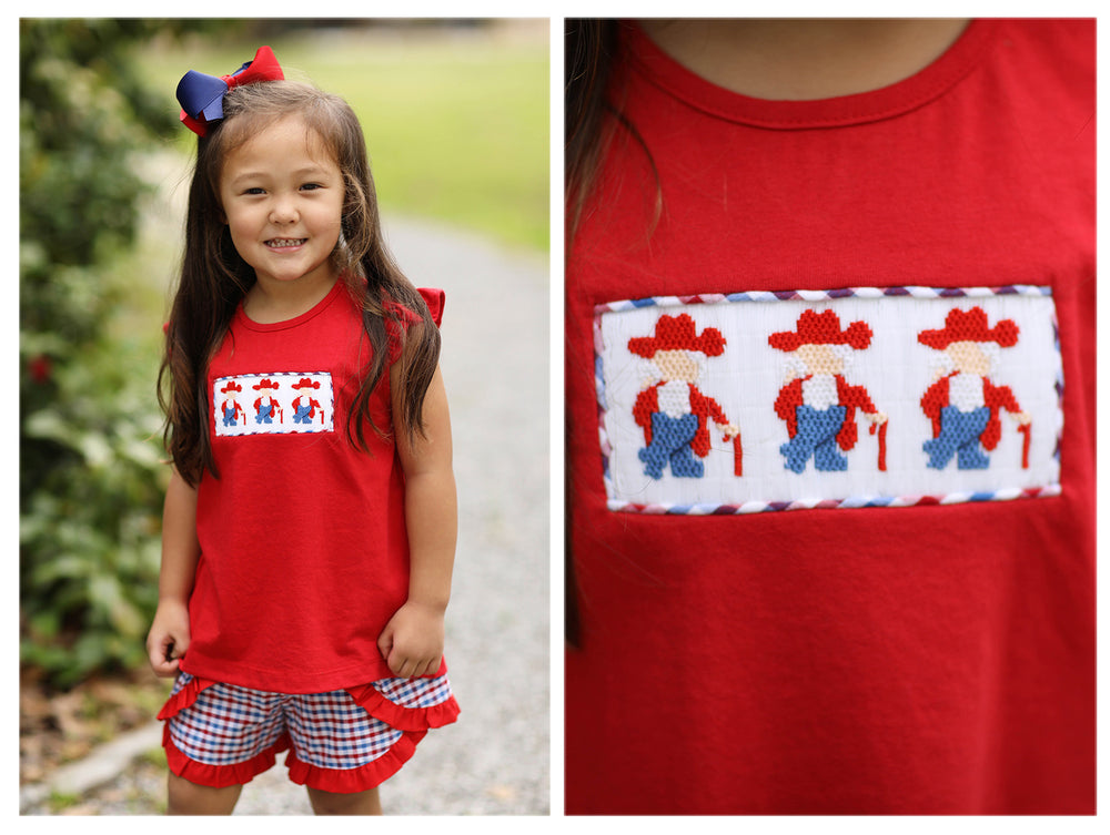 Rebel Smocked Red & Blue Plaid Swing Short Set