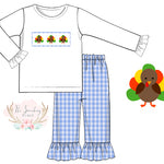 Turkey Smocked Blue Gingham Ruffle Pant Set